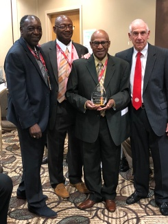 L-R, Leroy Hendricks, Jimm Paull , incoming IAABO President Willie L.A. Jones. IAABO Executive Director Tom Lopes